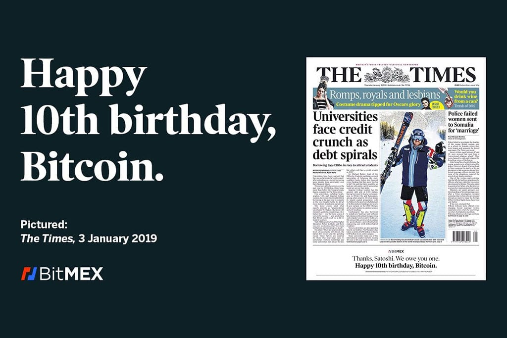 Bitmex Celebrates 10th Anniversary of Bitcoin on the Front