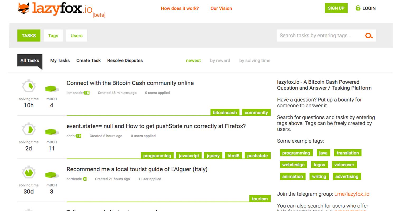 New Tasking Platform Lazyfox.io Rewards Users With Bitcoin Cash