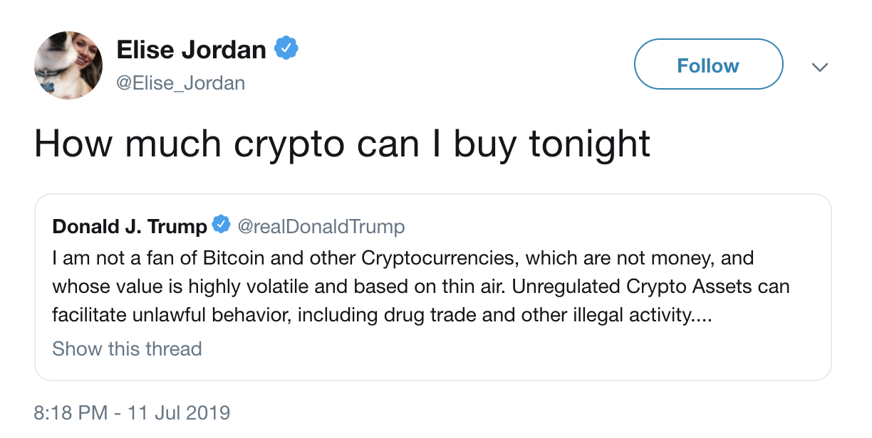 The Best Responses to Donald Trump's Claim That Bitcoin Is Backed by 'Thin Air'